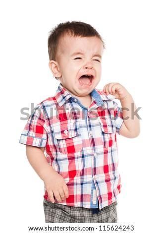 Little baby boy crying. Isolated on white bakcground