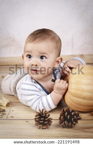 Little baby boy holding pumpkin - stock photo