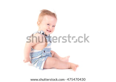 little baby boy isolated in white