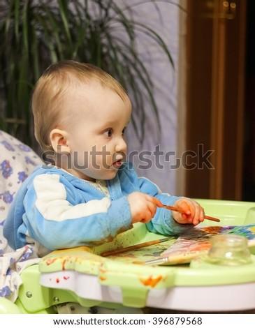 Little baby boy painter - stock photo