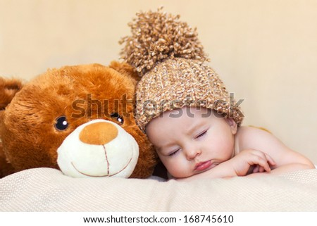 Little baby boy, sleeping - stock photo