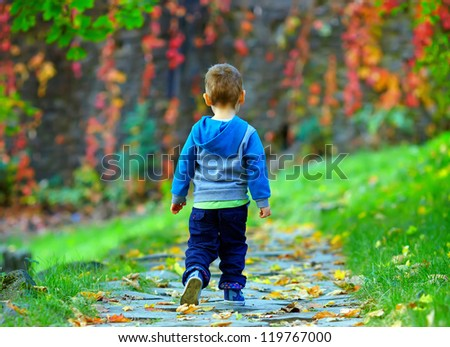 little baby boy walking away in colorful autumn park - stock photo