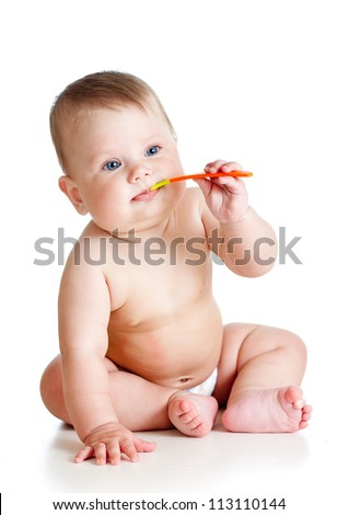 little baby brushing over white background - stock photo