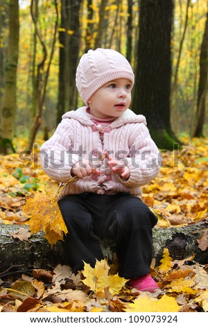 little baby girl in autumn with the leaves - stock photo