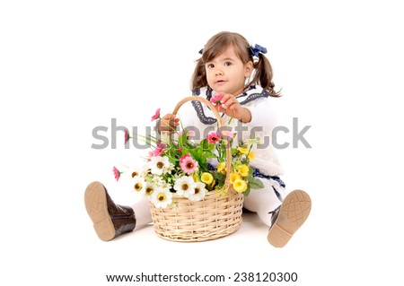 little baby girl isolated in white background