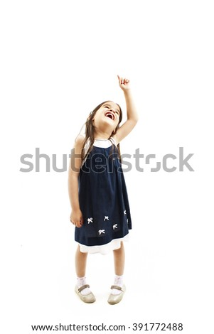 Little baby girl showing something above her, isolated on white background  - stock photo