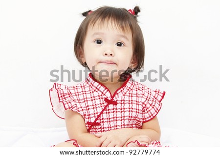 Little baby girl with an expression - stock photo