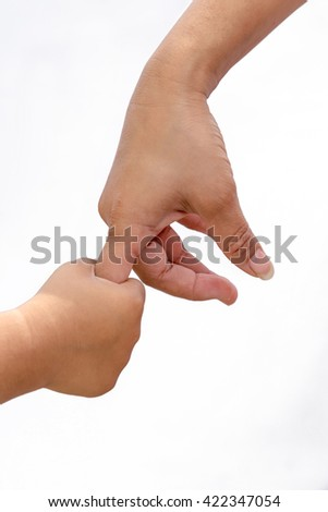 little baby hand holding his mother finger, Isolated on white background. - stock photo