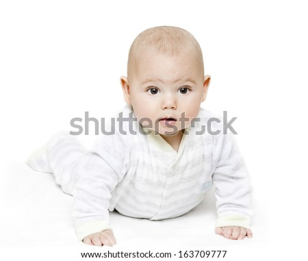 Little baby in front of white background