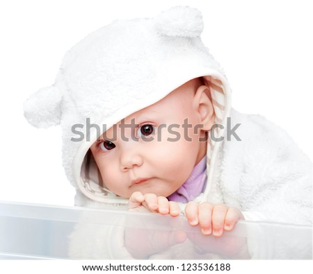 little baby in white bear costume isolated on white background - stock photo