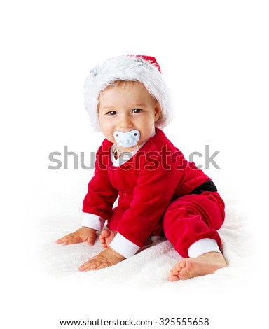 little Baby isolated on white background in santa costume - stock photo