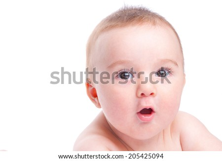 little baby looking with surprise isolated on white - stock photo
