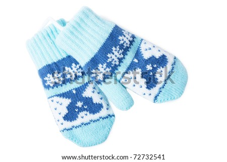 Little baby mittens/gloves isolated on white background