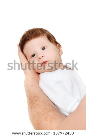 Little baby on father's hands isolated on white background