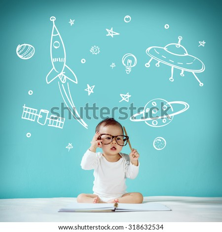 Little baby Space Dream - stock photo