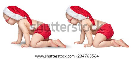 little baby with Santa hat and glasses crawling on white background. path isolated. with and without a shadow - stock photo