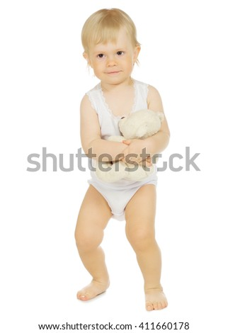 Little baby with teddy bear isolated - stock photo