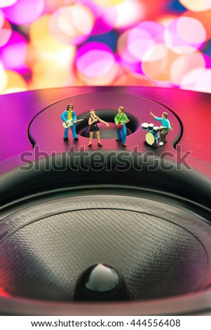 Little Band playing on the speaker. The concept of music. - stock photo