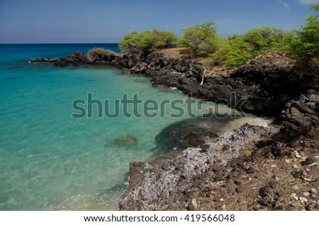 Little bay to the south of Hapuna beach, Big Island, Hawaii - stock photo