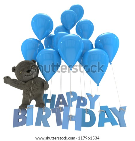 Little bear flying with blue balloons and the words happy birthday - stock photo