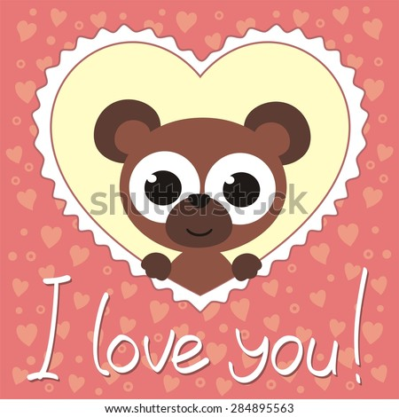 little bear in heart, i love you, valentines day