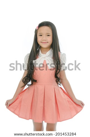 Little beautiful asian girl is smiling
