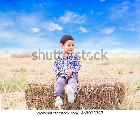 little beautiful boy sitting on a pile of hay in a field on a sunny day
