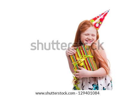 Little beautiful girl celebrate her birthday isolated on white