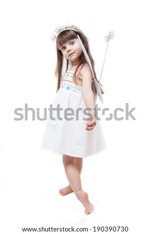 Little beautiful girl dressed in fairy isolated on white background - stock photo