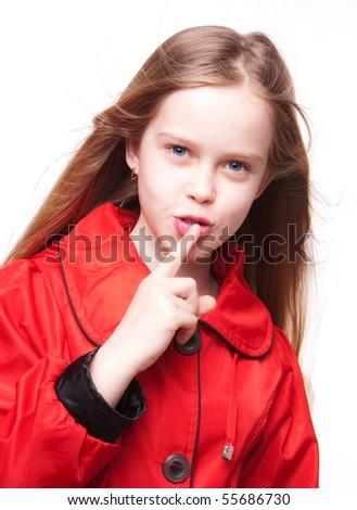 Little beautiful girl, happy child, studio portrait - stock photo