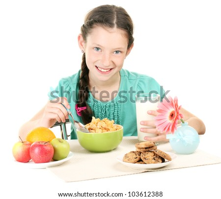 little beautiful girl have a breakfast on white background