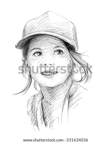 Little beautiful girl in cap pencil sketch