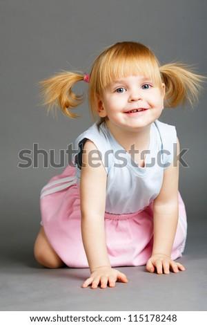 little beautiful girl portrait - stock photo
