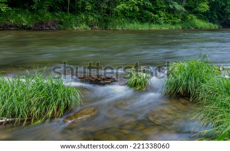 Little Beaverkill River - Famous trout stream in New York - stock photo