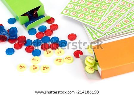 little bingo game equipment isolated on white background - stock photo