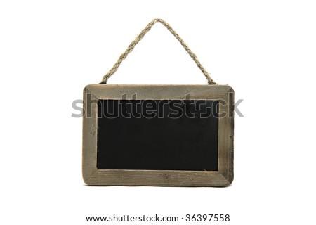 little black chalkboard on isolated background - stock photo