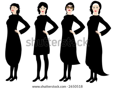 Little Black Dresses - stock photo