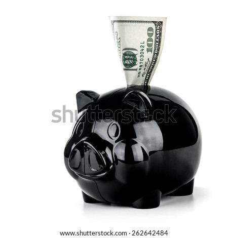 Little black piggy bank with one hundred dollar bill isolated on white background, financial investment, save money concept