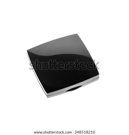 Little black square box with cosmetic product isolated on white background