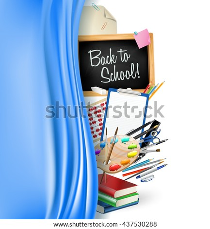 little blackboard border with notepad sheets, color pencils, pens, ruler,art palette, pile of books and silky curtain - stock photo