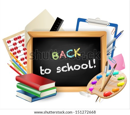 little blackboard with back to school text - stock photo
