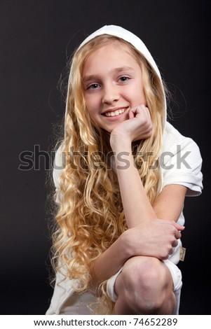 little blond girl smiling - stock photo