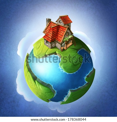 Little blue and green fantasy planet with a house on it - stock photo