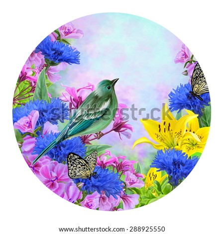 Little blue bird shit blooming blue, pink and yellow flowers - stock photo