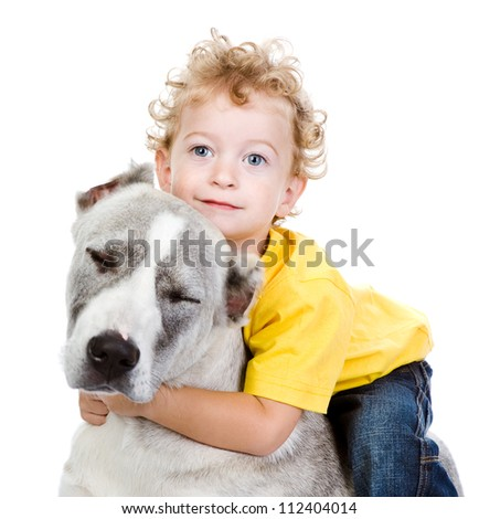 little boy and a big dog. isolated on white background