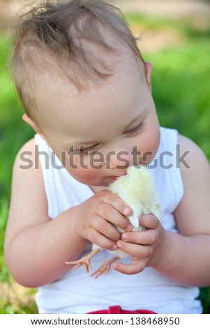 little boy and baby chicken  on green grass