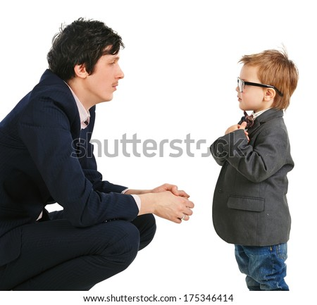 little boy and businessmen communicate, isolation on white background