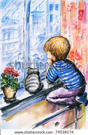 Little boy and cat watching the city through the window  in rainy day.Picture i have created with watercolors. - stock photo