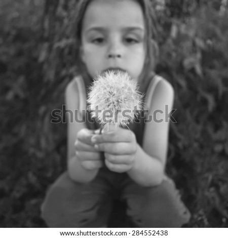 little boy and dandelions black and white photography