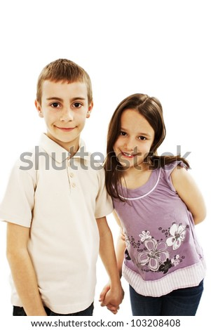 Little boy and girl. Isolated on white background - stock photo